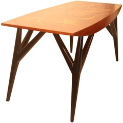 Coffee Table Luigi Scremin Minimalist Forms, 1940s Wood Precious Italian Design