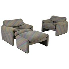 Two 'Maralunga' Armchairs with Pouf by Vico Magistretti for Cassina Vintage
