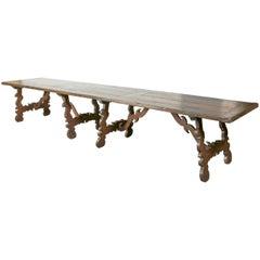 Monumental Early 19th Century Italian Baroque Style Walnut Trestle Dining Table