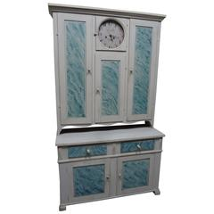 Original Painted Swedish Clock Kitchen Cabinet