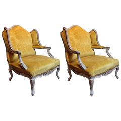 Oversized Pair of 1950s Louis XV Style Wingback Armchairs