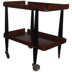 Bar Cart Carlo Ratti Curved Wood Mid-Century Italian Design