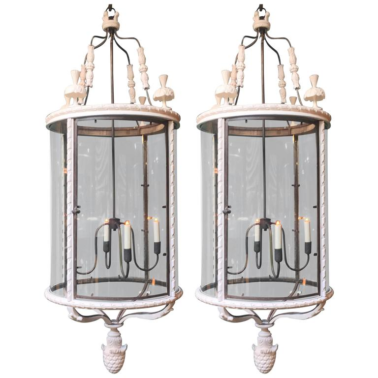 Pair Of Large Cylindrical Louis Xvi Style Lanterns At 1stdibs