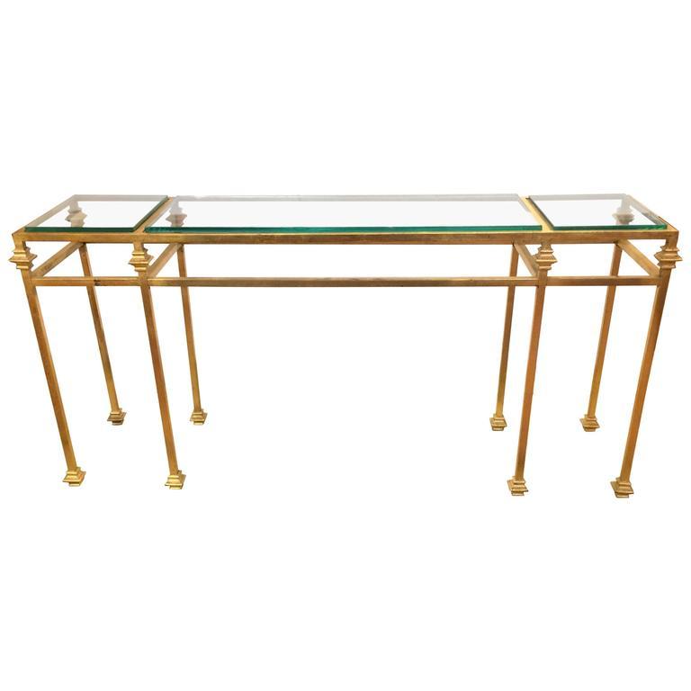 Glamorous Gilt Iron Giacometti Style Console Table