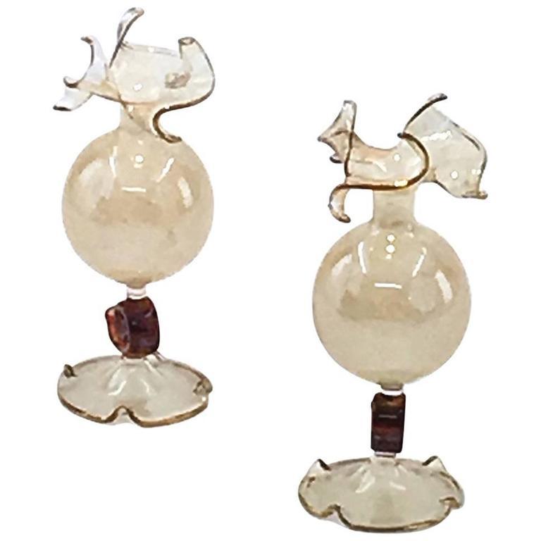 Pair of Murano Art Glass Vases