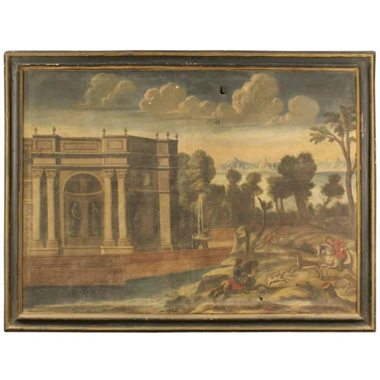 18th Century Italian Painting Landscape with Architecture For Sale
