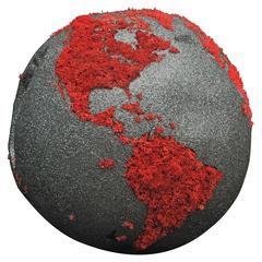 Teak Globe in Stabilized Red Lichen and Black Mica with Rotative Base, 11.81 in