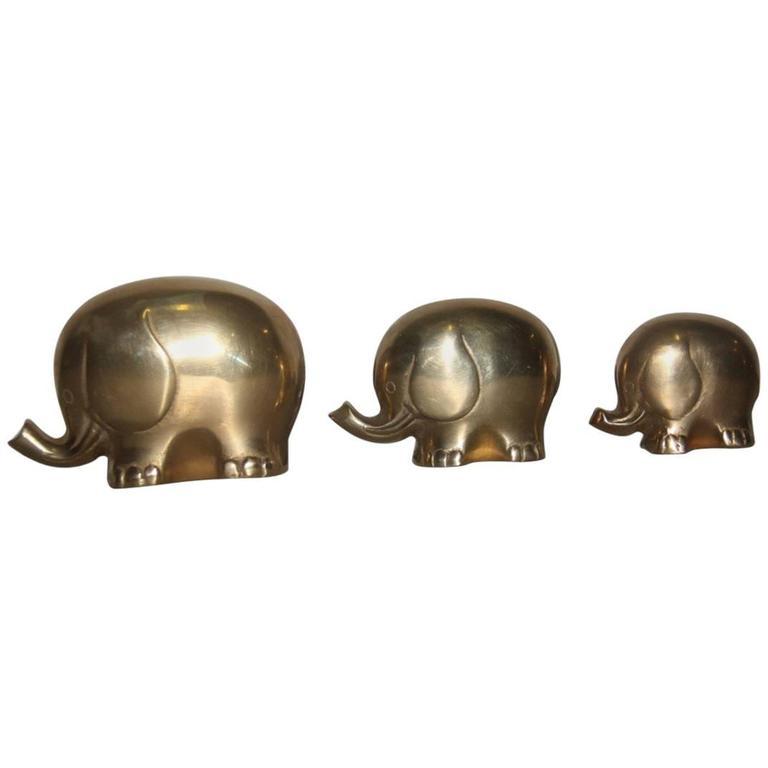 Sculptures 1970 Elephants Brass