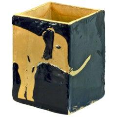 Hand Glazed Ceramic Elephant Vase