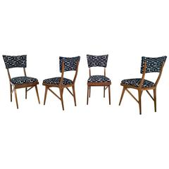 Set of Four Mahogany Chairs in the Style of Ico Parisi, 1950s