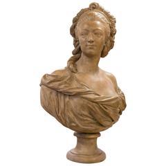 Antique Patina Terracotta Bust Louise de Pange after Augustin Pajou '1730-1809'