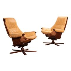 1970, Beautiful Set of Swivel Chairs by Göte Möbel