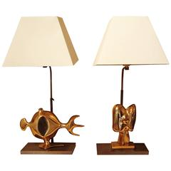 Pair of Table Lamps with Bronze Sculptures, by Victor Roman, 1970s