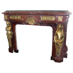 Very Fine and Palatial Late 19th Century Gilt Bronze Mounted Fireplace