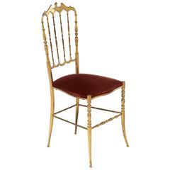 Chiavari Vintage Polished Brass Side Chair