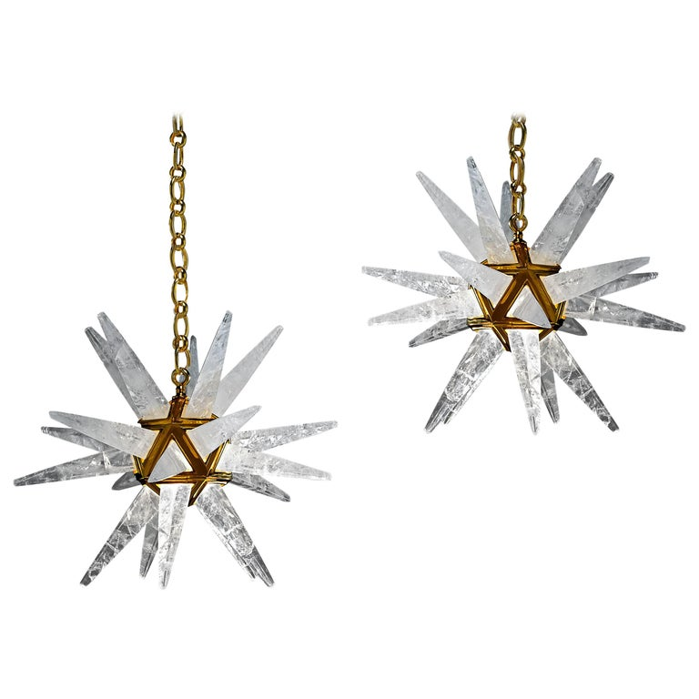 Pair of Rock Crystal Star Chandeliers by Alexandre Vossion For Sale