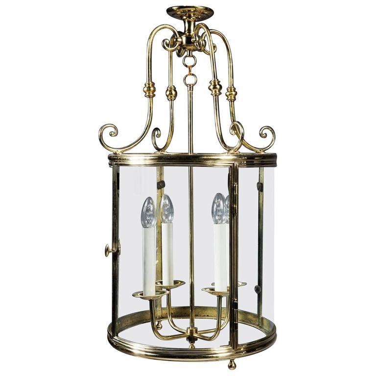 Large 19th Century French Brass Hall Lantern