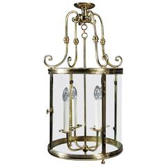 Large 19th Century French Brass Hall Lantern