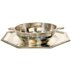 Art Deco Set of Silver Plated Tray and Bowl