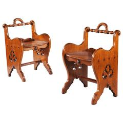 Pair of Oak Arts and Crafts Stools