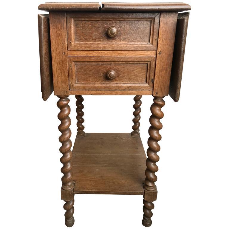 19th Century Barley Twist Oak Drop Leaf Work Table