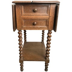 19th Century Barley Twist Oak Drop Leaf Work Table