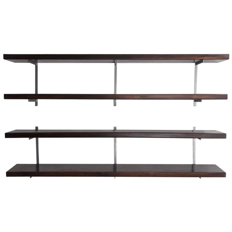 wallmounted shelves in wood designed by sergio rodrigues brazil 1