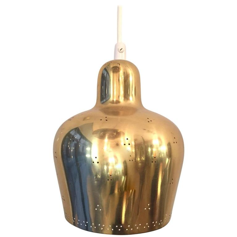 Paavo Tynell and/or Alvar Aalto Perforated Brass Pendant Light for Taito Oy