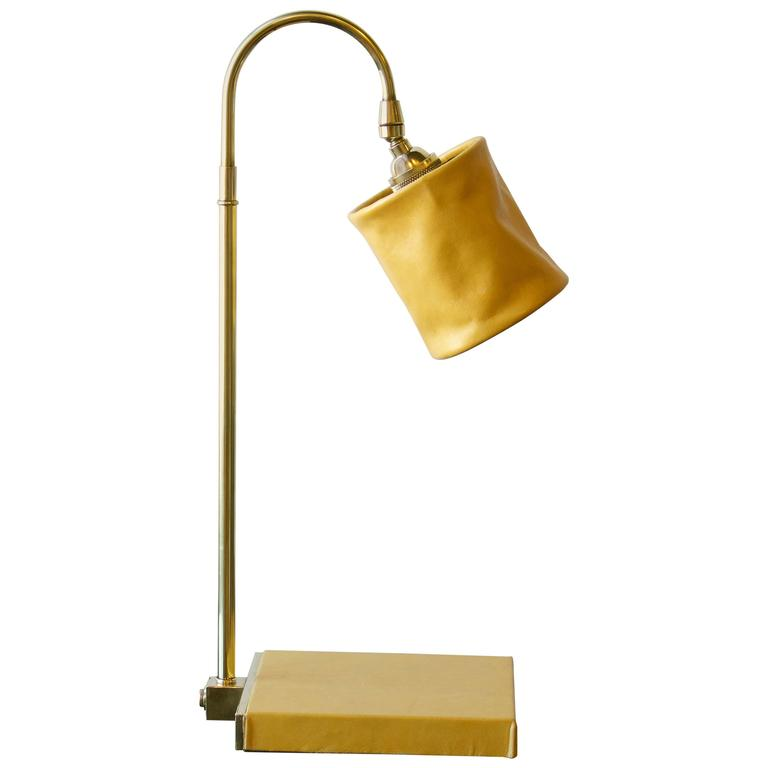 Series 01 Desk Lamp in Mustard by Adam Otlewski in Leather and Unlacquered Brass