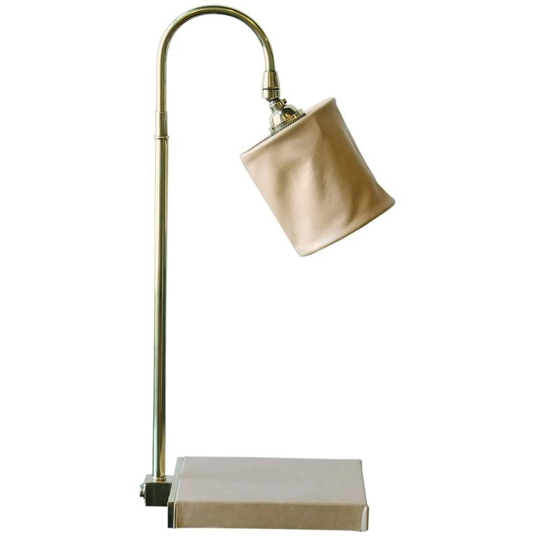 Series 01 Desk Lamp in Putty by Adam Otlewski in Leather and Unlacquered Brass