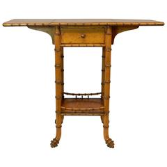 French Faux Wood and Bird's-Eye Maple Bamboo Drop-Leaf Table with Drawer
