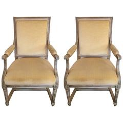 Pair of Roomy French Fauteuil Armchairs