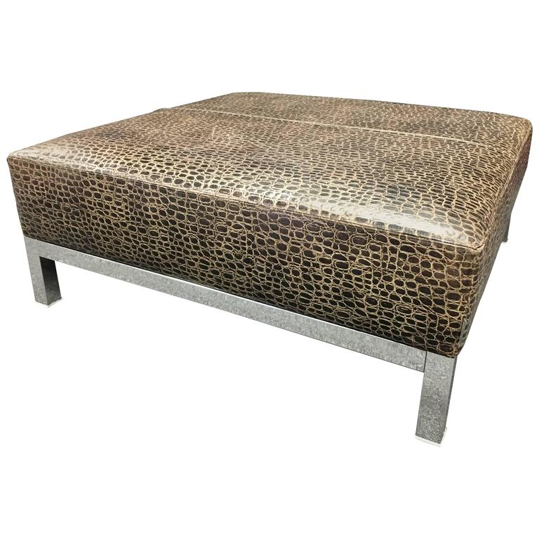 Striking Large Patterned Leather And Chrome Base Coffee Ottoman Table By Minotti At 1stdibs