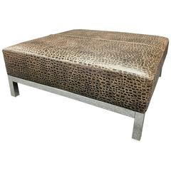 Striking Large Patterned Leather & Chrome Base Coffee Ottoman / Table by Minotti