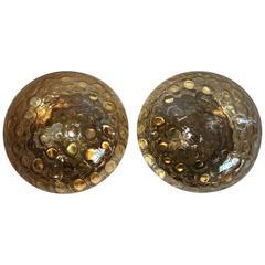 Pair of Tortoise Shell Amber Glass Flush Mounts