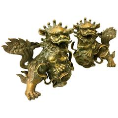 Impressive Pair of Patinated Bronze Chinese Foo Dogs, Lions Statues or Bookends