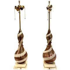 Pr. Dino Martens Swirled Murano Glass Lamps, circa 1950