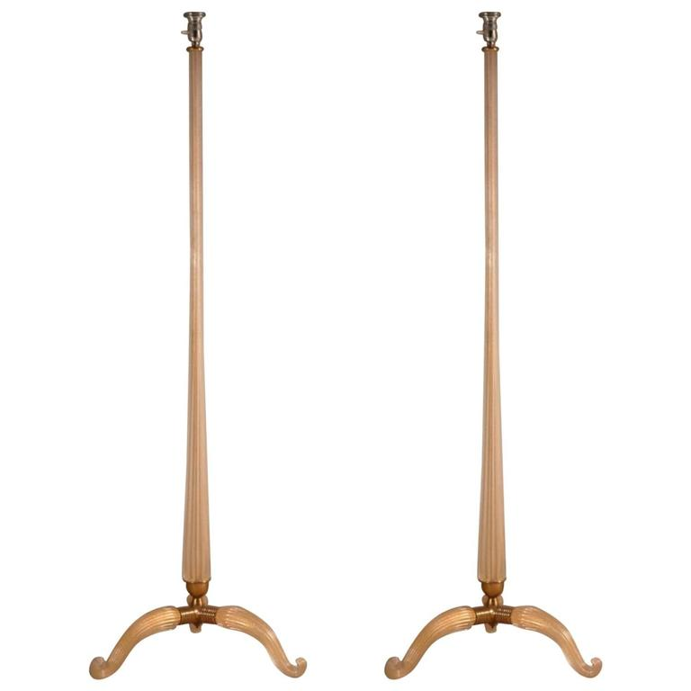 Murano Pair of Glass Floor Lamps For Sale
