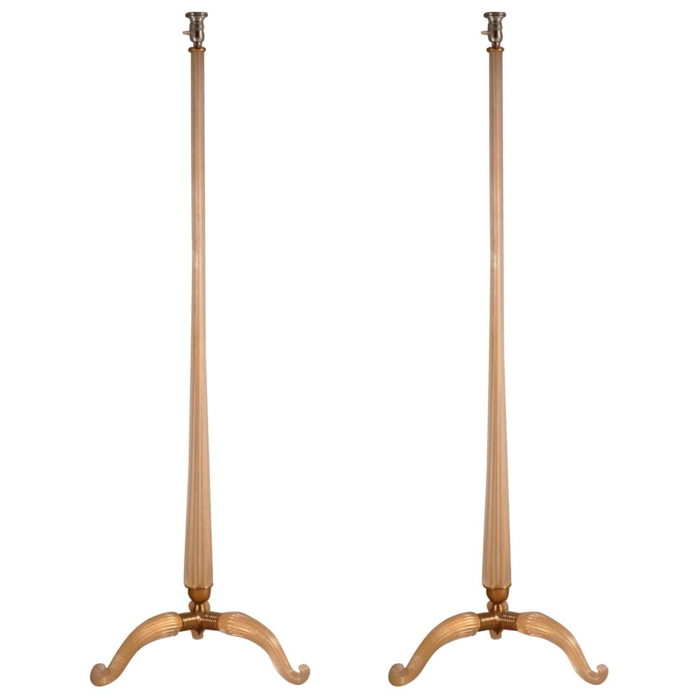 Murano Pair of Glass Floor Lamps