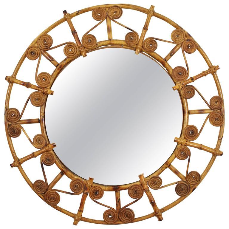 Spanish 1950s Filigree Bamboo and Rattan Circular Mirror For Sale