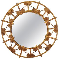 Spanish 1950s Filigree Bamboo and Rattan Circular Mirror