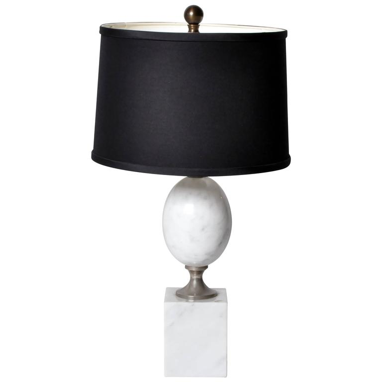 Mid-Century Modern Marble Table Lamp in the Style of Barbier
