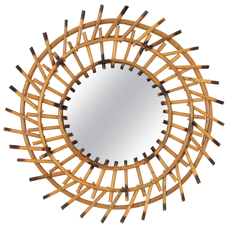 Mediterranean 1960S Bamboo Sunburst Mirror Wall Decoration, Spain, 1960S For
