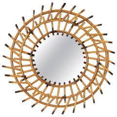 1960s Mediterranean Style Bamboo Sunburst Mirror with Pyrography Details