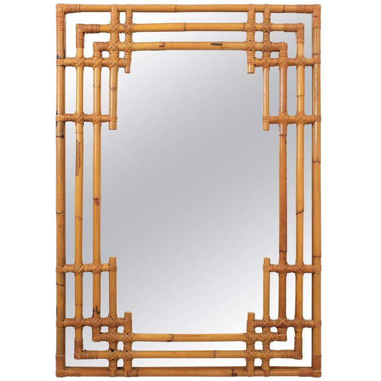 Spanish 1960s Bamboo Chinoiserie Tiki Style Rectangular Wall Mirror