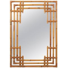 Spanish 1960s Bamboo Chinoiserie Tiki Style Rectangular Wall Mirror
