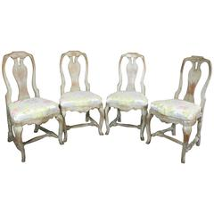 Set of Four, Swedish Rococo Painted Dining Chairs