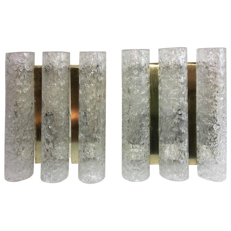 Pair of 1960s German Brass Three Tubes Doria Glass Sconces