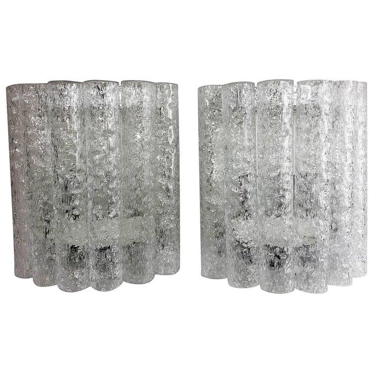 Pair of 1960s German Chrome Six Tubes Doria Glass Sconces For Sale