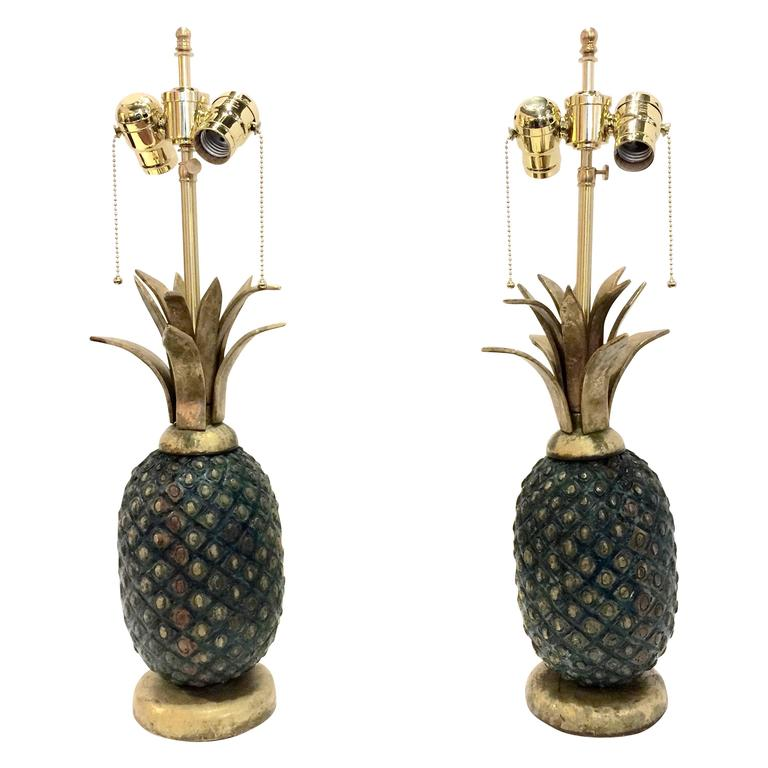 Pair Of Pepe Mendoza Mid Century Pineapple Lamps For Sale